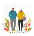autumn time man and woman vector image vector image