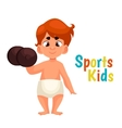 baby in diapers with a dumbbell vector image vector image