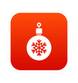 ball for the christmas tree icon digital red vector image vector image