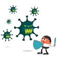 businessman fighting virus vector image vector image