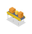 cardboard boxes on conveyor isometric 3d icon vector image