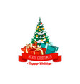 christmas tree gifts and decorations icon vector image vector image