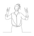 continuous one line woman shows sign horns vector image vector image