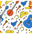 country instruments seamless pattern vector image vector image