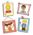 cute frame with family photo vector image vector image
