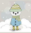 cute winter bear in a coat vector image