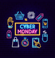 cyber monday sale neon concept vector image vector image