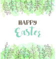 easter greeting card with flowers vector image vector image