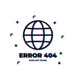 error 404 page not found error with glitch effect vector image