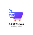 fast shopping cart logo design template trolley vector image