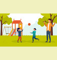 father with daughters resting outdoors vector image