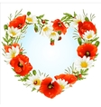 flower frame in shape heart vector image