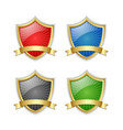 four colorful glossy golden shields with ribbons vector image
