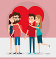 group of lovers couples with heart vector image vector image