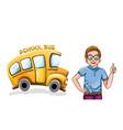 happy boy and school bus funny cartoon vector image vector image