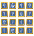 ice cream icons set blue square vector image