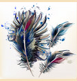 ink spots and realistic bird feathers vector image vector image