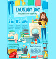 laundry household and housekeeping poster vector image vector image
