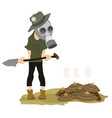 man in the gas mask spade and dunghill vector image vector image
