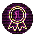 medal one award neon video game wall vector image