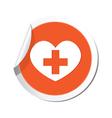 medical icon orange sticker vector image vector image