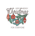 merry christmas linear emblem with typography vector image