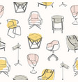 modern seamless pattern with stylish furniture vector image