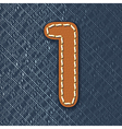 number 1 made from leather on jeans background