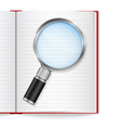 Open book with magnifying glass vector image