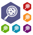 Pizza with ingredients on board icons set hexagon vector image