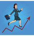 Pop Art Businesswoman Climbing Up the Career vector image vector image