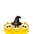postcard halloween with chickens chicken vector image vector image