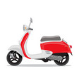 red and white retro scooter flat style vector image vector image