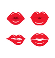 Red Lips Kissing Set vector image vector image