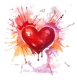 red watercolor heart on white background vector image