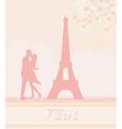 Romantic couple in Paris kissing near the Eiffel vector image vector image