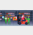 santa claus driving forklift truck elves holding vector image vector image