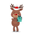 santa s reindeer rudolph of vector image vector image