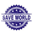 scratched textured save world stamp seal vector image vector image