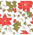 seamless christmas poinsettia floral pattern vector image