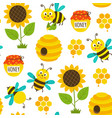 seamless pattern with funny bees and icons vector image vector image