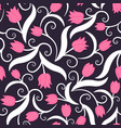 seamless pattern with pink tulips vector image vector image