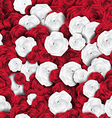 Seamless red white rose background vector image