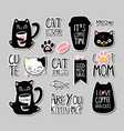 set cats badges patches stickers vector image