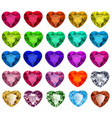 set cut gemstones with heart in different vector image