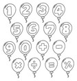 set of number balloon vector image