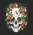 skull with rose branch tattoo vector image vector image