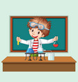 student in science classroom working with tools vector image vector image