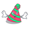 surprised party hat mascot cartoon vector image