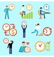 Time management flat icons vector image vector image